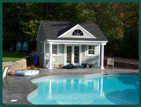 Farmhouse plans pool house for Small pool house with bathroom